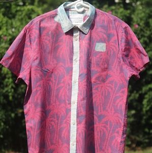 Palm Tree Button Down with Custom Bleached Collar